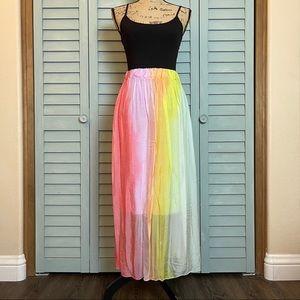 Belle France Giallo Rainbow Stripe Skirt